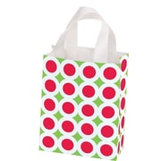 Shamrock Printed Frosted Bag with Soft Loop Handles, Bright Christmas, 8X4X10