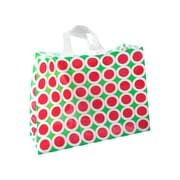 Shamrock Printed Frosted Bag with Soft Loop Handles, Bright Christmas, 16X6X12