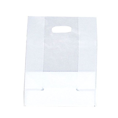 Shamrock SOS Style Bag, Clear, Die-Cut Handles with Cardboard Bottom, 10X5X13X5