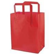 Shamrock Colored Shopping Bag, Red, Tri-fold Handle with Cardboard Bottom, 8X5X10X5