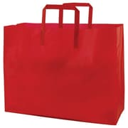 Shamrock Colored Shopping Bag, Red, Tri-fold Handle with Cardboard Bottom, 16X6X12X6