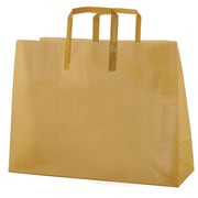 Shamrock Colored Shopping Bag, Gold, Tri-fold Handle with Cardboard Bottom, 16X6X12X6