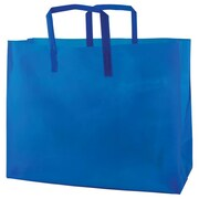 Shamrock Colored Shopping Bag, Blue, Tri-fold Handle with Cardboard Bottom, 16X6X12X6