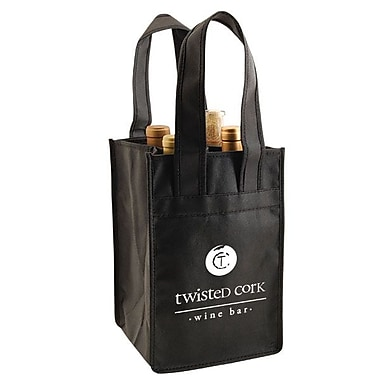 Shamrock Non-Woven Wine Tote, Black, 4-Bottle, 7X7X11