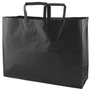Shamrock Colored Shopping Bag, Black, Tri-fold Handle with Cardboard Bottom, 16X6X12X6