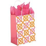 Shamrock Kraft Paper 10.5H x 8W x 4.75D Chic Link Shopping Bags, Pink/Orange, 100/Pack