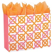 Shamrock Kraft Paper 13H x 16W x 6D Chic Link Shopping Bags, Pink/Orange, 100/Pack