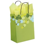"Shamrock Kraft Paper 10.5""H x 8""W x 4.75""D Berry Branches Shopping Bags, Green, 100/Pack"