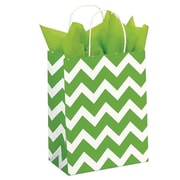 "Shamrock Kraft Paper 10.5""H x 8""W x 4.75""D Shopping Bags, Lime Chevron, 100/Pack"