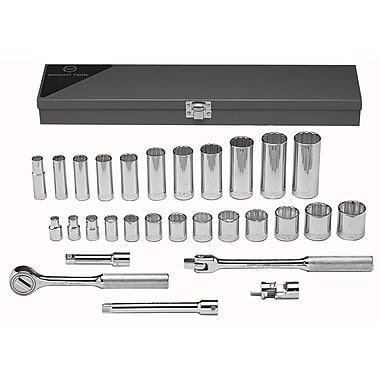 Wright Tool 29 Piece Standard & Deep Socket Set, 3/8