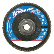 "Weiler® Tiger Paw™ 60 Grit Super High Density Flap Disc With 5/8"" Arbor Hole, 4 1/2"""