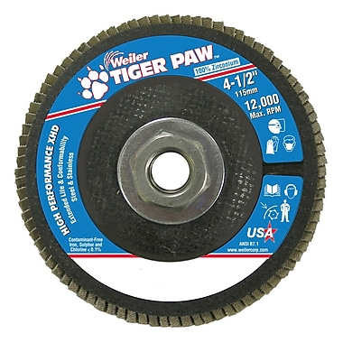 Weiler® Tiger Paw™ 36 Grit Super High Density Flap Disc With 5/8
