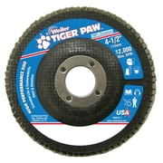 "Weiler® Tiger Paw™ 60 Grit Super High Density Flap Disc With 7/8"" Arbor Hole, 4 1/2"""