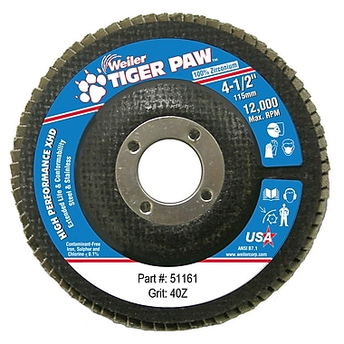 Weiler® Tiger Paw™ 40 Grit Super High Density Flap Disc, 4 1/2