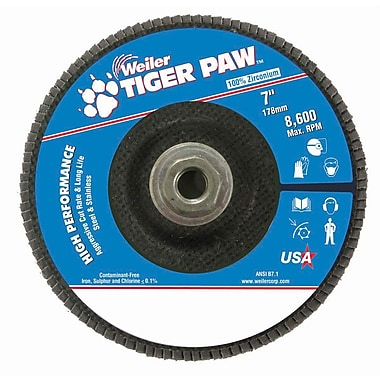 Weiler® Tiger Paw™ 60 Grit Coated Type 27 Abrasive Flap Disc With 5/8