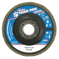 Weiler® Tiger Paw™ 36 Grit Coated Type 29 Abrasive Flap Disc With 7/8in. Arbor Hole, 4 1/2in.