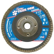 Weiler® Tiger Paw™ 36 Grit Coated Abrasive Flap Disc With 5/8 - 11 Arbor Hole, 4 1/2