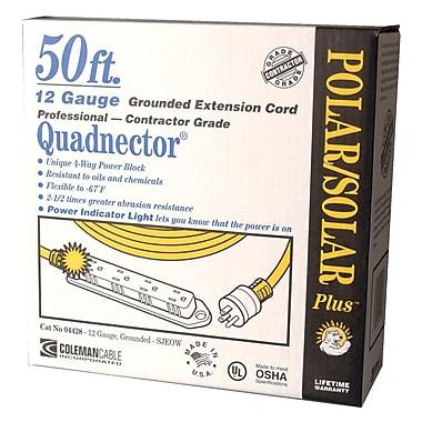 CCI® 50' Polar/Solar® Quadnector® Multiple Outlet Cord, Yellow