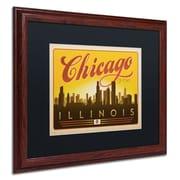 "Trademark Anderson ""Chicago Skyline"" Paper Art, Black Matte W/Wood Frame, 16"" x 20"""