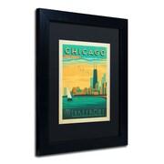"Trademark Anderson ""Chicago II"" Art, Black Matte W/Black Frame, 11"" x 14"""