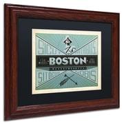 "Trademark Anderson ""Boston"" Paper Art, Black Matte W/Wood Frame, 11"" x 14"""