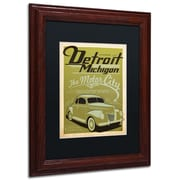 "Trademark Anderson ""Detroit"" Art, Black Matte W/Wood Frame, 11"" x 14"""