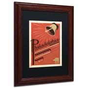 "Trademark Anderson ""Philadelphia PA"" Paper Art, Black Matte W/Wood Frame, 11"" x 14"""