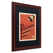 "Trademark Anderson ""Philadelphia, PA"" Paper Art, Black Matte W/Wood Frame, 16"" x 20"""