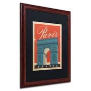 "Trademark Anderson ""Paris, France III"" Paper Art, Black Matte W/Wood Frame, 16"" x 20"""