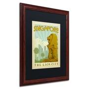 "Trademark Anderson ""Singapore"" Paper Art, Black Matte W/Wood Frame, 16"" x 20"""