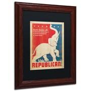 "Trademark Anderson ""Elephant"" Paper Art, Black Matte W/Wood Frame, 11"" x 14"""