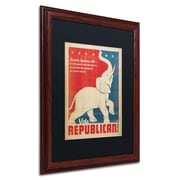 "Trademark Anderson ""Elephant"" Paper Art, Black Matte W/Wood Frame, 16"" x 20"""