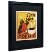 "Trademark Anderson ""Early Bird Blend Coffee"" Paper Art, Black Matte W/Black Frame, 16"" x 20"""