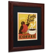 "Trademark Anderson ""Early Bird Blend Coffee"" Paper Art, Black Matte W/Wood Frame, 11"" x 14"""