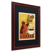 "Trademark Anderson ""Early Bird Blend Coffee"" Paper Art, Black Matte W/Wood Frame, 16"" x 20"""