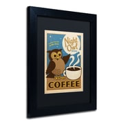 "Trademark Anderson ""Night Owl Blend Coffee"" Paper Art, Black Matte W/Black Frame, 11"" x 14"""