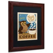 "Trademark Anderson ""Night Owl Blend Coffee"" Art, Black Matte W/Wood Frame, 11"" x 14"""