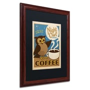 "Trademark Anderson ""Night Owl Blend Coffee"" Art, Black Matte W/Wood Frame, 16"" x 20"""