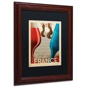 "Trademark Anderson ""Vin Francais"" Paper Art, Black Matte W/Wood Frame, 11"" x 14"""