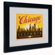 "Trademark Anderson ""Chicago Skyline"" Paper Art, White Matte W/Black Frame, 11"" x 14"""