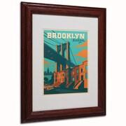 "Trademark Anderson ""Brooklyn"" Art, White Matte W/Wood Frame, 11"" x 14"""