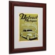 "Trademark Anderson ""Detroit"" Paper Art, White Matte W/Wood Frame, 11"" x 14"""