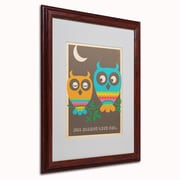 "Trademark Anderson ""Rainbow Owls"" Paper Art, White Matte W/Wood Frame, 16"" x 20"""