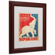 "Trademark Anderson ""Elephant"" Paper Art, White Matte W/Wood Frame, 11"" x 14"""