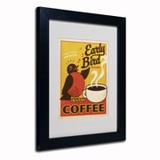 "Trademark Anderson ""Early Bird Blend Coffee"" Art, White Matte W/Black Frame, 11"" x 14"""