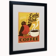 "Trademark Anderson ""Early Bird Blend Coffee"" Paper Art, White Matte W/Black Frame, 16"" x 20"""