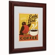 "Trademark Anderson ""Early Bird Blend Coffee"" Paper Art, White Matte W/Wood Frame, 11"" x 14"""