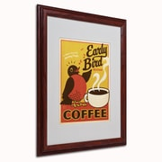 "Trademark Anderson ""Early Bird Blend Coffee"" Art, White Matte W/Wood Frame, 16"" x 20"""