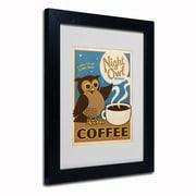 "Trademark Anderson ""Night Owl Blend Coffee"" Paper Art, White Matte W/Black Frame, 11"" x 14"""