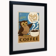 "Trademark Anderson ""Night Owl Blend Coffee"" Paper Art, White Matte W/Black Frame, 16"" x 20"""